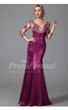 Mermaid V-neck 3/4 Length Sleeve Sweep Train Fuchsia Tencel Prom Dresses(PRJT04-1879)