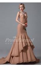 Mermaid Sweetheart Long Dark Salmon 100D Chiffon Prom Dresses(PRJT04-1880)
