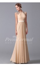 Mermaid Jewel Sweep Train Champagne 100D Chiffon Prom Dresses(PRJT04-1881)
