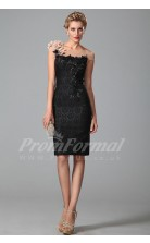 Sheath Bateau Short Sleeve Knee-length Black Lace Prom Dresses(PRJT04-1887)