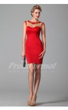 Sheath Illusion Short Sleeve Short/Mini Red Satin Prom Dresses(PRJT04-1888)