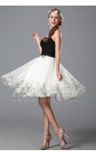 A-line Strapless Short/Mini Black And White Organza Prom Dresses(PRJT04-1889)