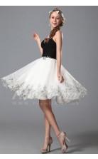 A-line Strapless Short/Mini Black And White Organza Prom Dresses(PRJT04-1889)