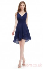 A-line V-neck Short Royal Blue Chiffon Evening Dresses(PRJT04-1894-B)