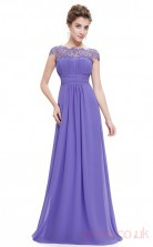 A-line Scalloped Ankle-length Slate Blue Silk Like Chiffon Evening Dresses with Short Sleeves (PRJT04-1899-L)