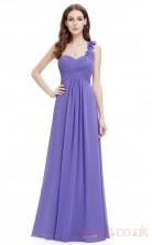 A-line One Shoulder Long Slate Blue Silk Like Chiffon Cocktail Dresses(PRJT04-1903-C)