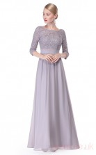 A-line Scoop Neckline Half Sleeve Long Dark Gainsboro Chiffon , Lace Evening Dresses with Half Sleeves (PRJT04-1907-C)