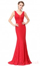 Mermaid V-neck Long Ruby Lace Evening Dresses(PRJT04-1908-B)