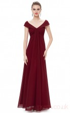 A-line V-neck Long Burgundy Chiffon Cocktail Dresses with Short Sleeves (PRJT04-1909-D)