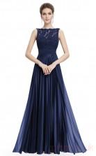 A-line Scalloped Long Royal Blue Chiffon , Lace Prom Dresses(PRJT04-1912-B)