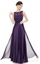 A-line Bateau Neckline Long Regency Chiffon , Lace Evening Dresses(PRJT04-1912-C)