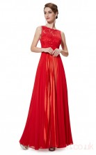 A-line Scalloped Long Ruby Chiffon , Lace Prom Dresses(PRJT04-1912-F)