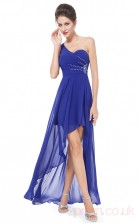 A-line One Shoulder Hi Low Medium Blue Chiffon Cocktail Dresses(PRJT04-1914-A)