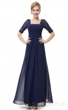 A-line Off the Shoulder Long Light Navy Silk Like Chiffon , Lace Cocktail Dresses with Short Sleeves (PRJT04-1915-D)