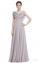 A-line Cowl Long Dark Gainsboro Chiffon , Sequined Prom Dresses with Short Sleeves (PRJT04-1919-A)