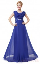 A-line Cowl Long Medium Blue Chiffon , Sequined Prom Dresses with Short Sleeves (PRJT04-1919-C)