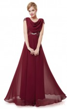 A-line Cowl Long Burgundy Chiffon , Sequined Prom Dresses with Short Sleeves (PRJT04-1919-F)