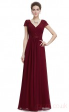 A-line V-neck Long Burgundy Chiffon Prom Dresses with Short Sleeves (PRJT04-1921-B)