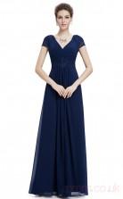 A-line V-neck Long Royal Blue Chiffon Evening Dresses with Short Sleeves (PRJT04-1921-D)