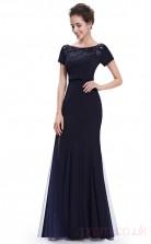 Mermaid Scoop Neckline Long Light Navy Spandex , Tulle Prom Dresses with Short Sleeves (PRJT04-1922-A)
