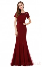 Mermaid Scoop Neckline Long Burgundy Spandex , Tulle Prom Dresses with Short Sleeves (PRJT04-1922-B)
