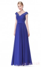A-line V-neck Long Medium Blue Chiffon , Satin Cocktail Dresses with Short Sleeves (PRJT04-1924-F)