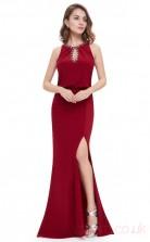 Mermaid Jewel Long Burgundy Satin Chiffon Prom Dresses(PRJT04-1925-A)