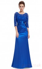 Sheath Scalloped Half Sleeve Long Medium Blue Stretch Satin , Lace Prom Dresses with Half Sleeves (PRJT04-1926-F)