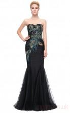 Mermaid Sweetheart Neckline Long Black Chiffon Prom Dresses(PRJT04-1932-A)