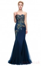 Mermaid Sweetheart Neckline Long Light Navy Silk Like Chiffon Prom Dresses(PRJT04-1932-C)