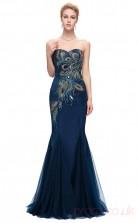 Mermaid Sweetheart Neckline Long Light Navy Silk Like Chiffon Prom Dresses(PRJT04-1932-C)