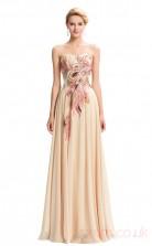 A-line Sweetheart Neckline Long Champange Satin Chiffon Prom Dresses(PRJT04-1933-C)