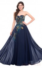 A-line Sweetheart Neckline Long Light Navy Satin , Silk Like Chiffon Prom Dresses(PRJT04-1933-E)