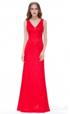 Sheath V-neck Ankle-length Ruby Chiffon Evening Dresses(PRJT04-1935-B)