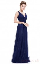 A-line V-neck Ankle-length Royal Blue Chiffon Prom Dresses(PRJT04-1937-C)