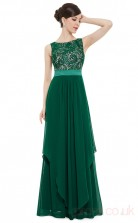 A-line Bateau Neckline Long Dark Green Chiffon , Lace Evening Dresses(PRJT04-1943-B)