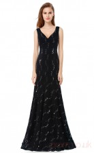 Mermaid V-neck Long Black Lace Prom Dresses(PRJT04-1944-B)
