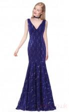 Mermaid V-neck Long Royal Blue Lace Prom Dresses(PRJT04-1944-C)