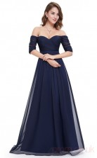 A-line Off the Shoulder Long Light Navy Silk Like Chiffon Cocktail Dresses with Short Sleeves (PRJT04-1945-B)