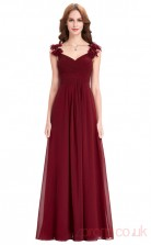 A-line V-neck Long Burgundy Chiffon Prom Dresses(PRJT04-1947)