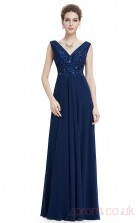A-line V-neck Long Royal Blue Chiffon Prom Dresses with Short Sleeves (PRJT04-1948)