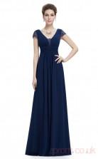 A-line V-neck Long Burgundy Satin Chiffon Prom Dresses with Short Sleeves (PRJT04-1953)