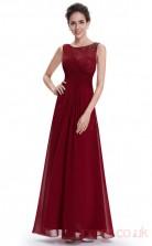 A-line Scoop Neckline Ankle-length Burgundy Chiffon Prom Dresses(PRJT04-1954)