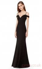 Mermaid Off the Shoulder Long Black Charmeuse Prom Dresses with Short Sleeves (PRJT04-1957)