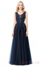 A-line V-neck Long Navy Blue Tulle Prom Dresses(PRJT04-1962)