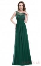 A-line Scoop Neckline Long Dark Green Chiffon Prom Dresses(PRJT04-1967)