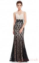 Mermaid V-neck Ankle-length Black and Ivory Lace Prom Dresses(PRJT04-1973)