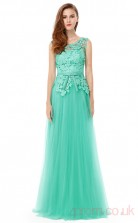 A-line Scoop Neckline Long Medium Turquoise Tulle , Lace Prom Dresses(PRJT04-1974)