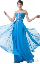 A-line Sweetheart Neckline Long Ocean Blue Chiffon Prom Dresses(PRJT04-1979)