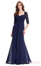 Sheath Sweetheart Neckline Half Sleeve Long Navy Blue Chiffon Prom Dresses with Half Sleeves (PRJT04-1981)